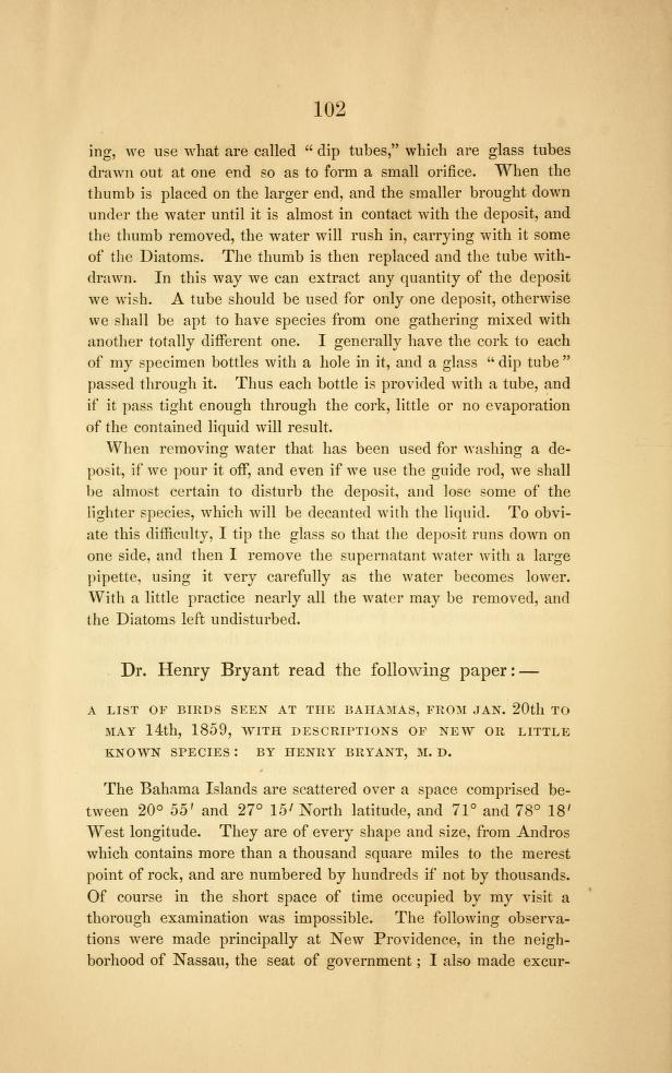 A List of Birds Seen at the Bahamas from January 20th to May 14th, 1859, with Descriptions of New or Little Known Species