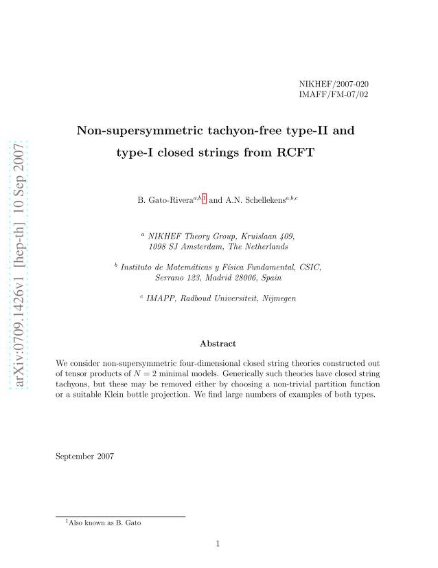 B. Gato-Rivera - Non-supersymmetric Tachyon-free Type-II and Type-I Closed Strings from RCFT