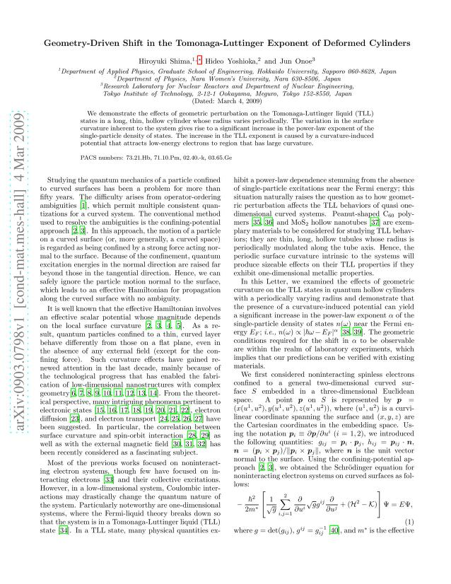 Hiroyuki Shima - Geometry-Driven Shift in the Tomonaga-Luttinger Exponent of Deformed Cylinders