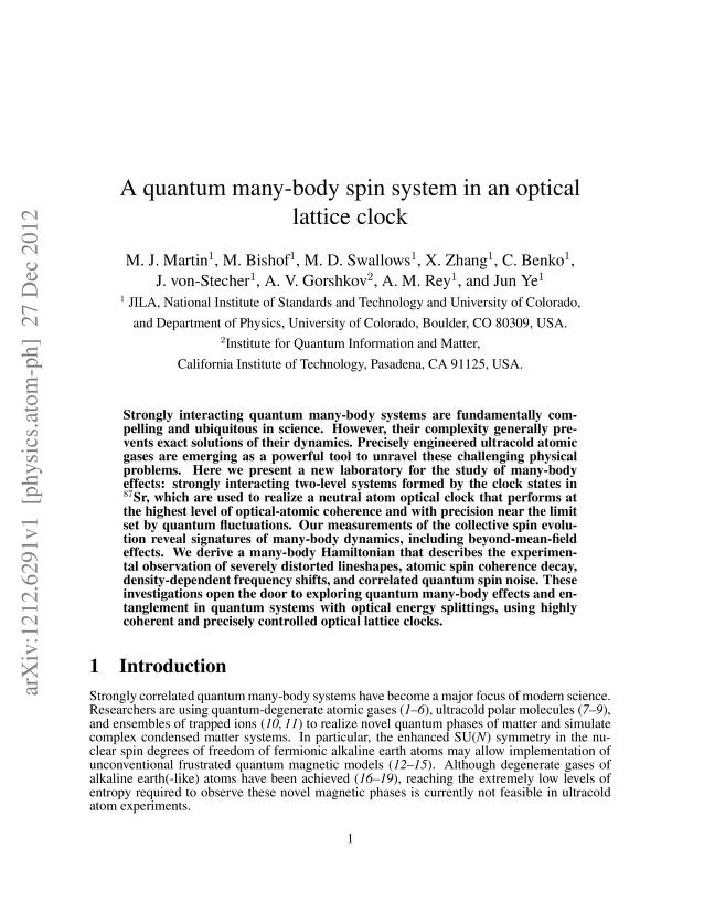 M. J. Martin - A quantum many-body spin system in an optical lattice clock