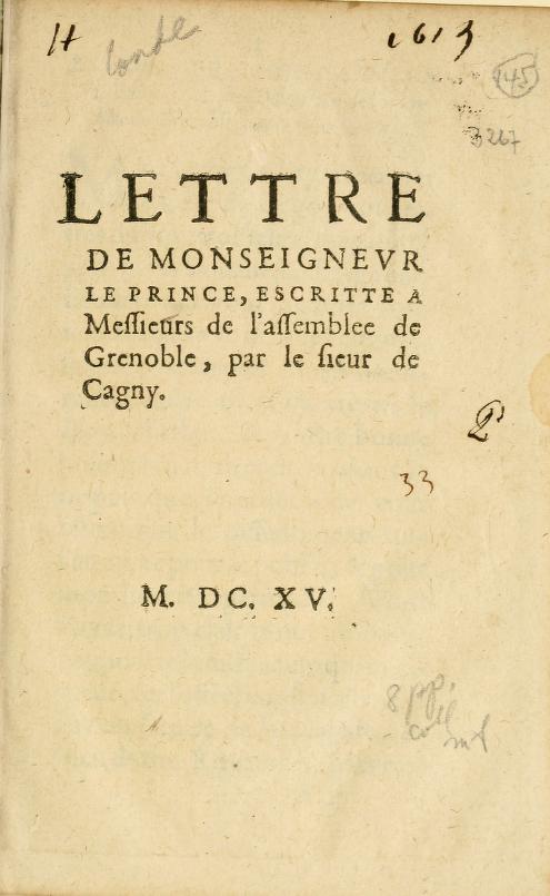 Lettre De Monseignevr Le Prince by Condé, Henri II de Bourbon prince de